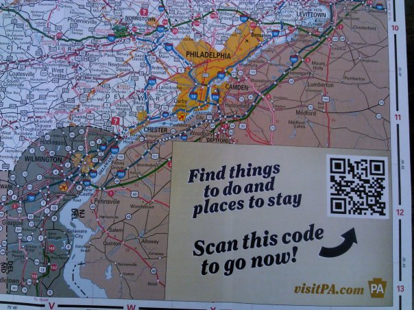 QR Code on the Pennsylvania Tourism & Transportation Map