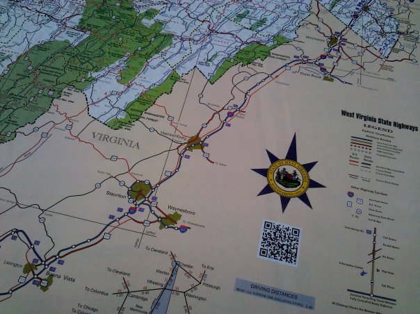 QR Code on the West Virginia Official Highway Map