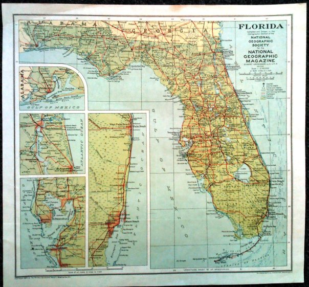 Florida Map Printed by Williams & Heintz in 1930 for National Geographic Society