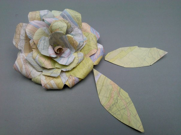 Paper Map Rose made from a reused map