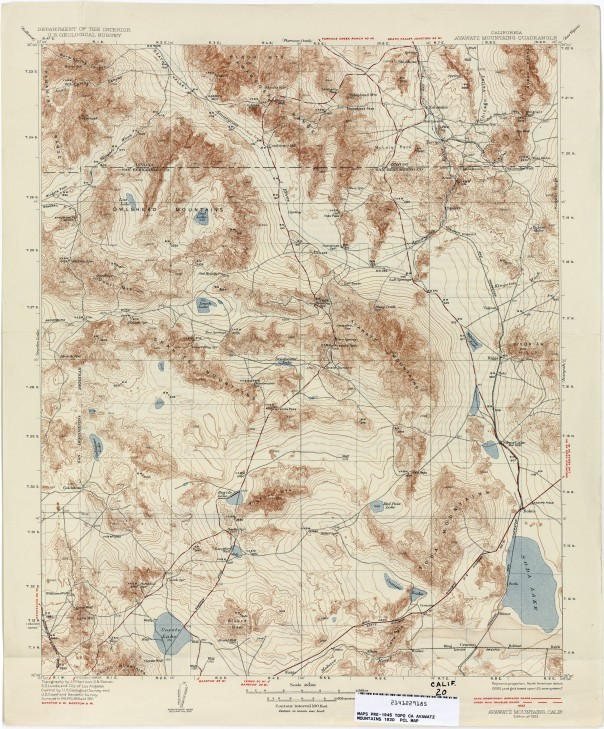Avawatz Mountains CA USGS 1933