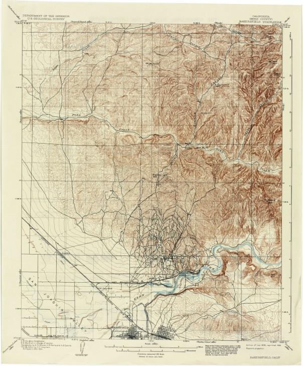 Bakersfield CA Quad USGS Edition of 1906 Reprint 1936