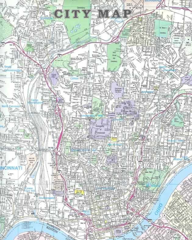 CITY MAP From: CITY MAP OF CINCINNATI Publisher: UNIVERSAL MAP ENTERPRISES/SPECTRUM MAP PUBLISHING