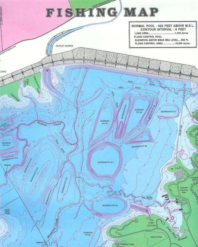 FISHING MAP From: JOE POOL LAKE Publisher: LAKE PRODUCTS