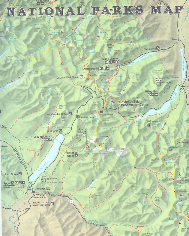 NATIONAL PARKS MAP From: WATERTON/GLACIER Publisher: U. S. NATIONAL PARK SERVICE