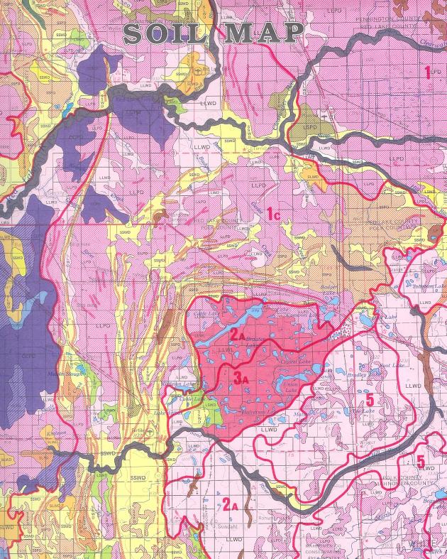 SOIL MAP From: SOIL LANDSCAPES AND GEOMORPHIC REGIONS-BEMIDJI SHEET Publisher: UNIVERSITY OF MINNESOTA, DEPARTMENT OF SOIL SCIENCE