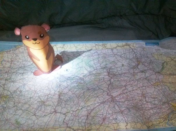 Mappy Groundhogs Day. Punxsutawney Phil  sees his shadow on a classic road map of Pennsylvania from 1988.