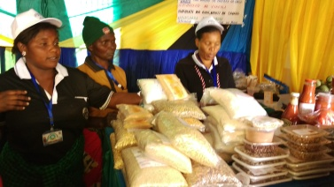 A women's group from Mchewe Village, Mbeya, Tanzania, displaying and selling their products at the Farm Show, Nane, Nane.