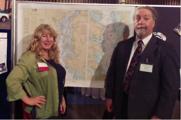 Holly and Mark Budd at the PGAMA Excellence in Print 2016 award winner Best in Category: Digital Map, a POD Chart printed for NOAA.