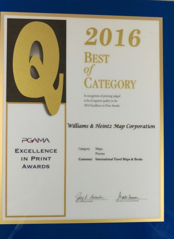PGAMA Excellence in Print Awards Williams & Heintz Map wins for Best of Category for Digital Maps