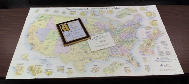 Williams & Heintz Map won a Q Award from the Printing and Graphics Association Mid-Atlantic, (PGAMA) for printing one of Hedberg Maps. The American Higher Education Map shows the location of every university and college in the country.