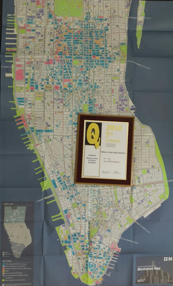 Williams & Heintz Map Corporation won the 2018 Q Award from the Printing and Graphics Association Mid-Atlantic, (PGAMA) for printing of Newmark Grubb Knight Frank's Manhattan Map.
